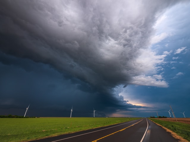 storm rolling in over highway